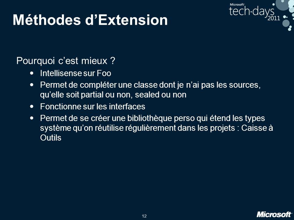 Méthodes d'Extension Pourquoi c'est mieux Intellisense sur Foo