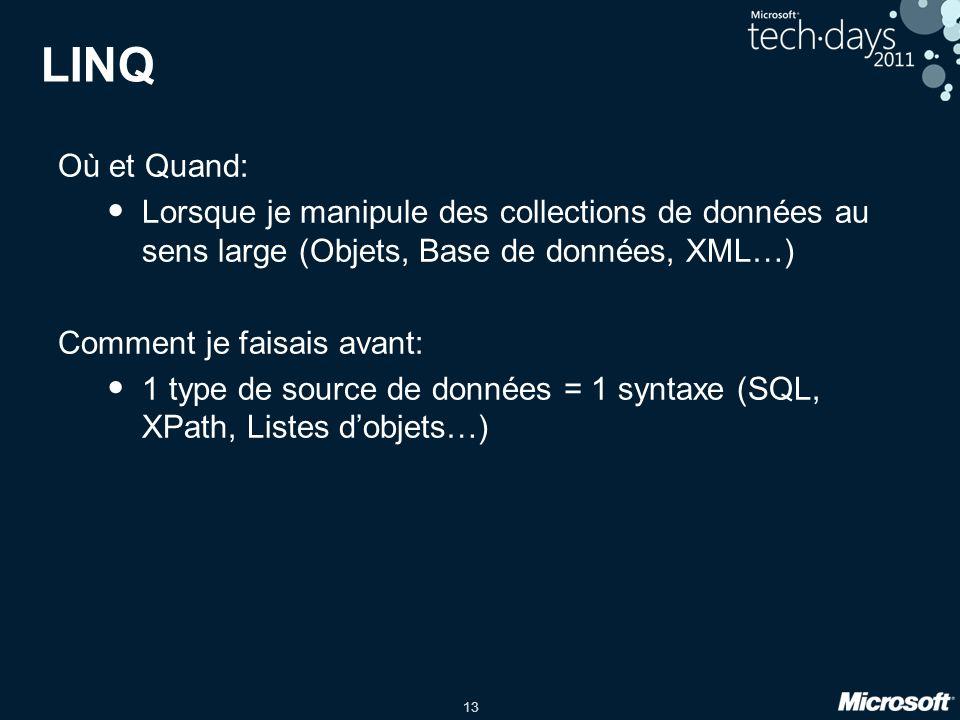 LINQ Où et Quand: Lorsque je manipule des collections de données au sens large (Objets, Base de données, XML…)