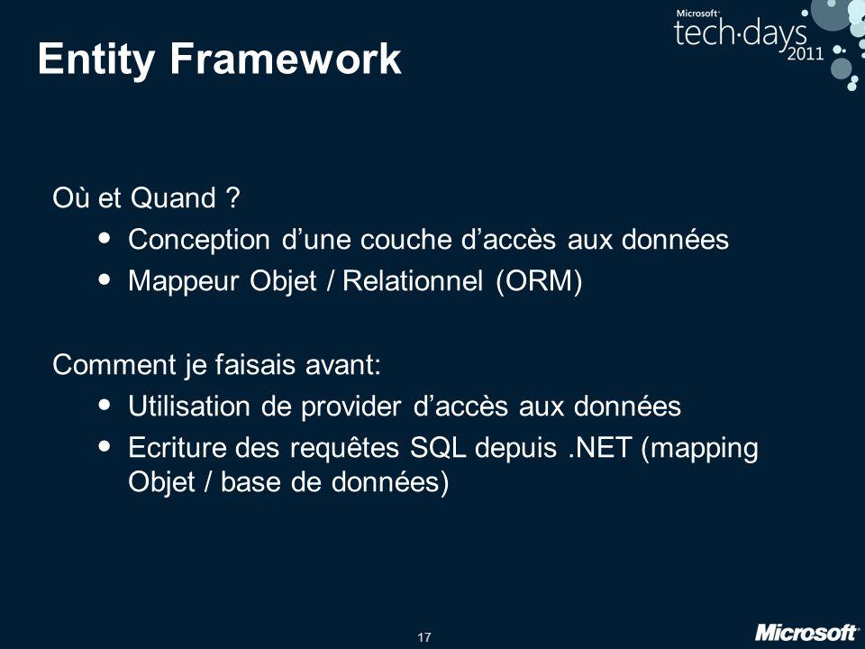 Entity Framework Où et Quand