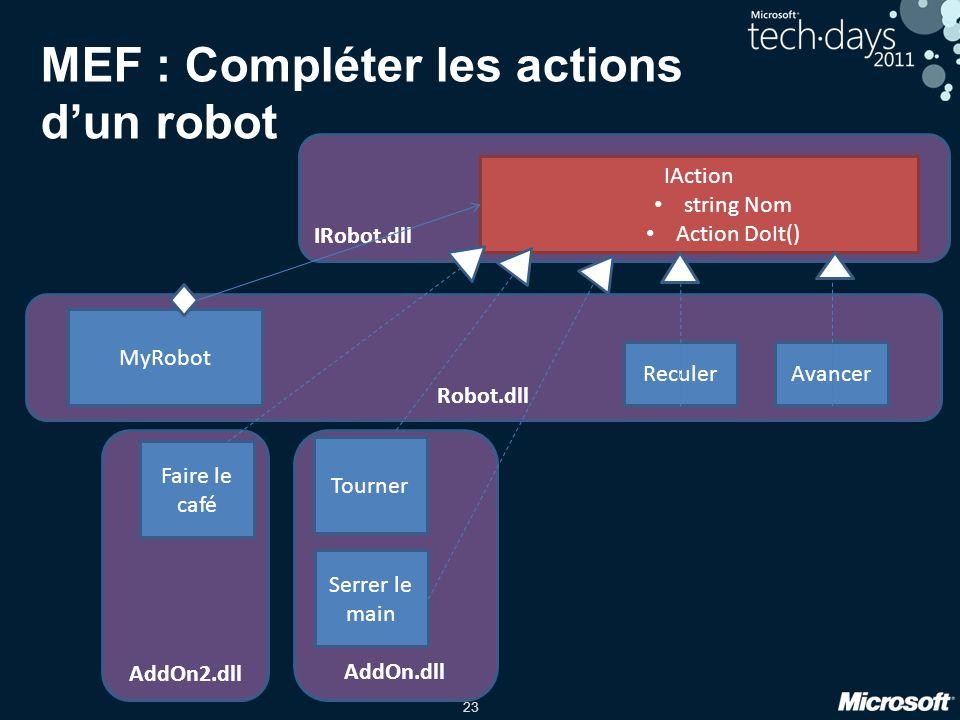 MEF : Compléter les actions d'un robot