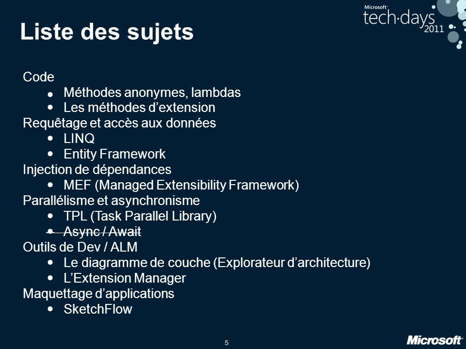 Liste des sujets Code Méthodes anonymes, lambdas
