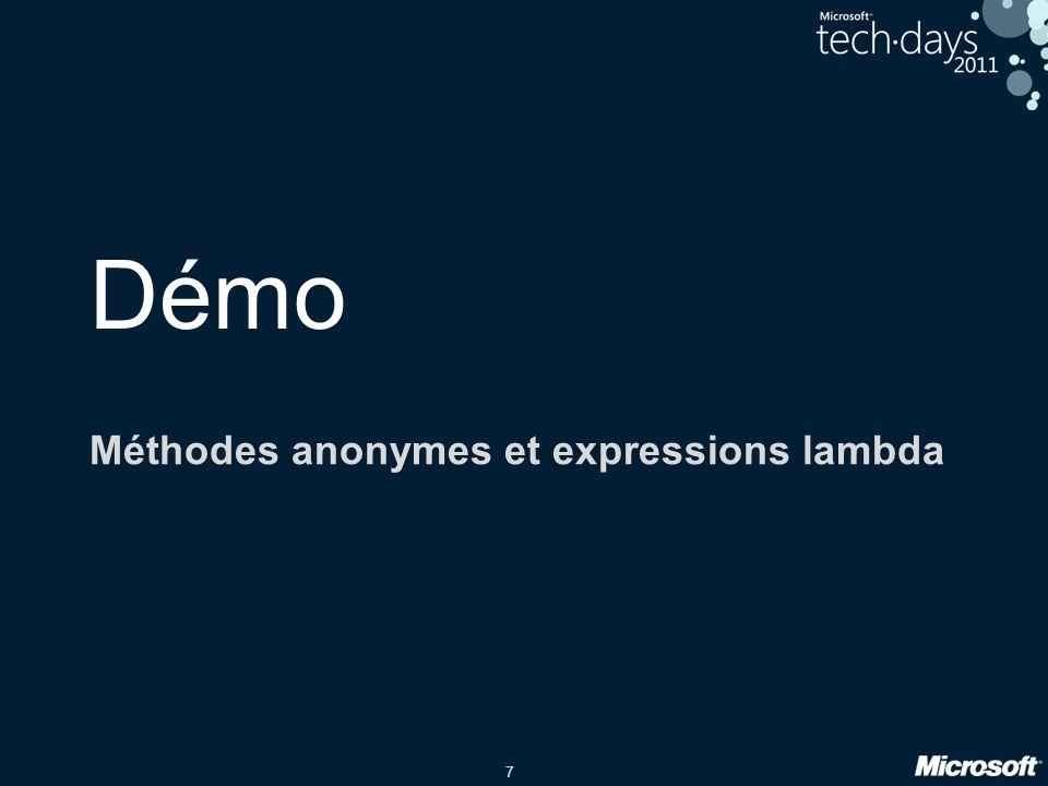Méthodes anonymes et expressions lambda