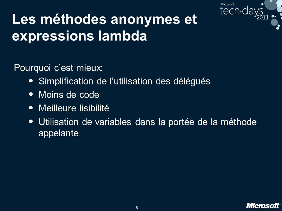 Les méthodes anonymes et expressions lambda