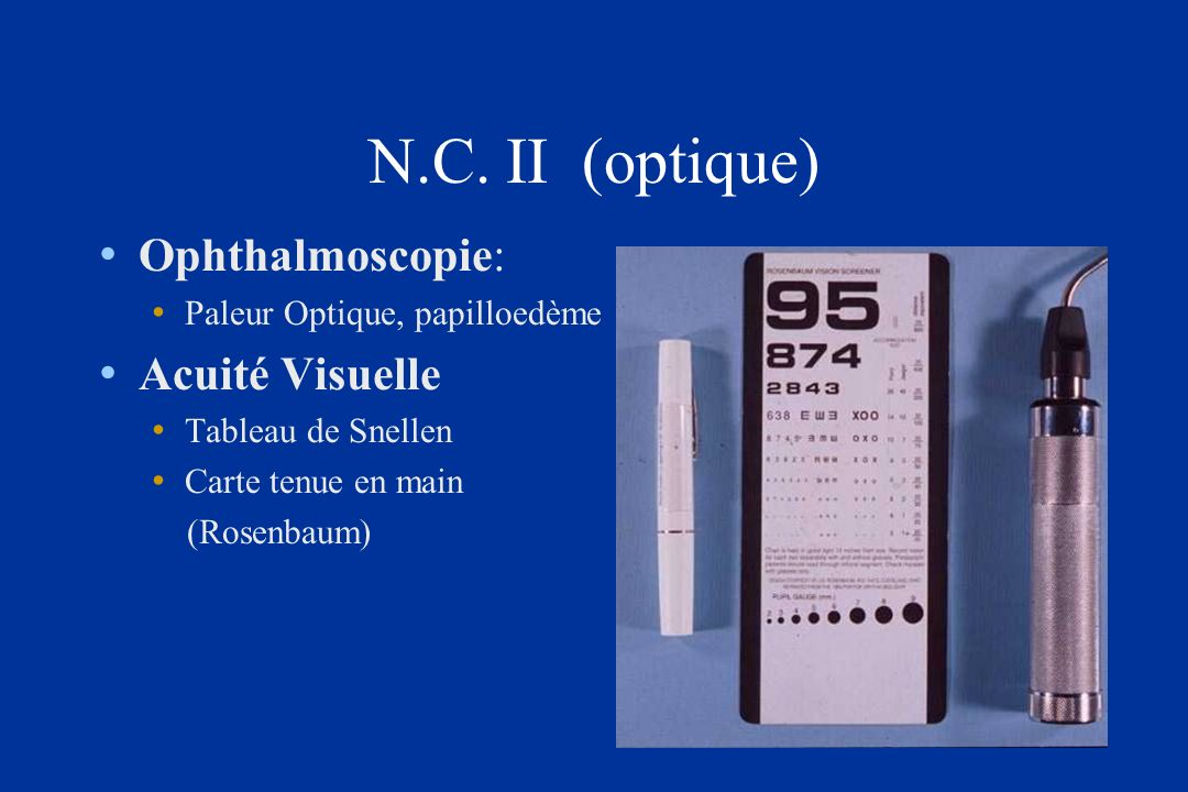 N.C. II (optique) Ophthalmoscopie: Acuité Visuelle