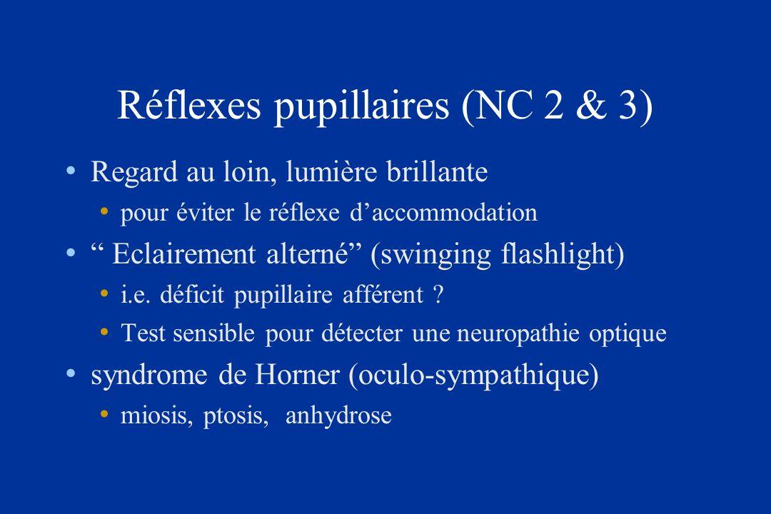 Réflexes pupillaires (NC 2 & 3)