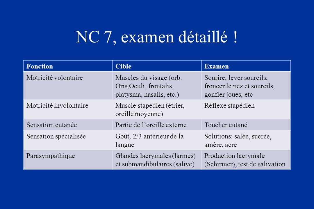 NC 7, examen détaillé ! Fonction Cible Examen Motricité volontaire