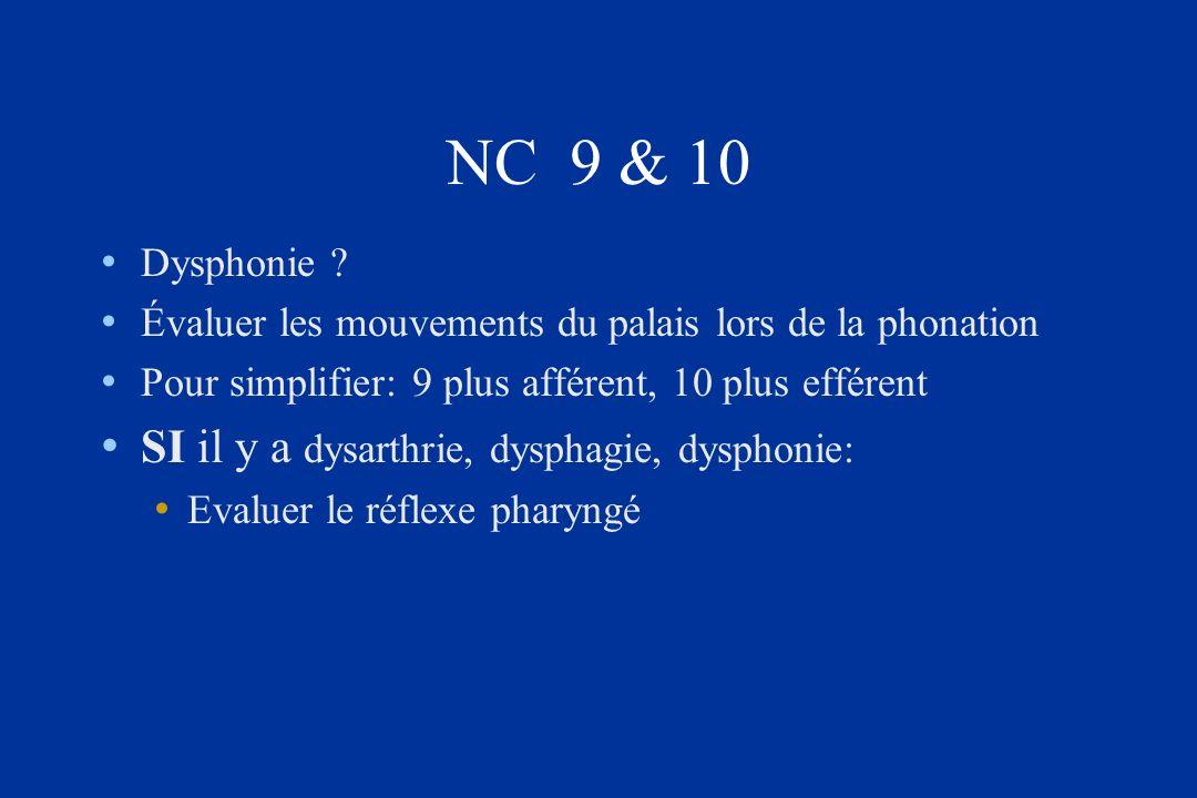 NC 9 & 10 SI il y a dysarthrie, dysphagie, dysphonie: Dysphonie