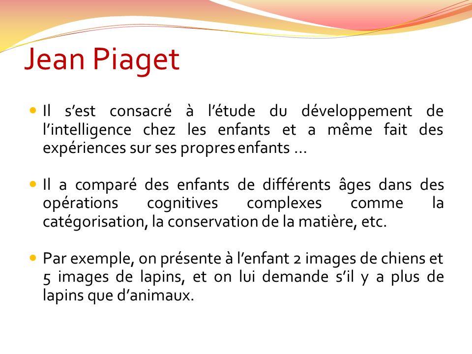 Jean Piaget Il s'est consacré à l'étude du développement de l'intelligence chez les enfants et a même fait des expériences sur ses propres enfants …