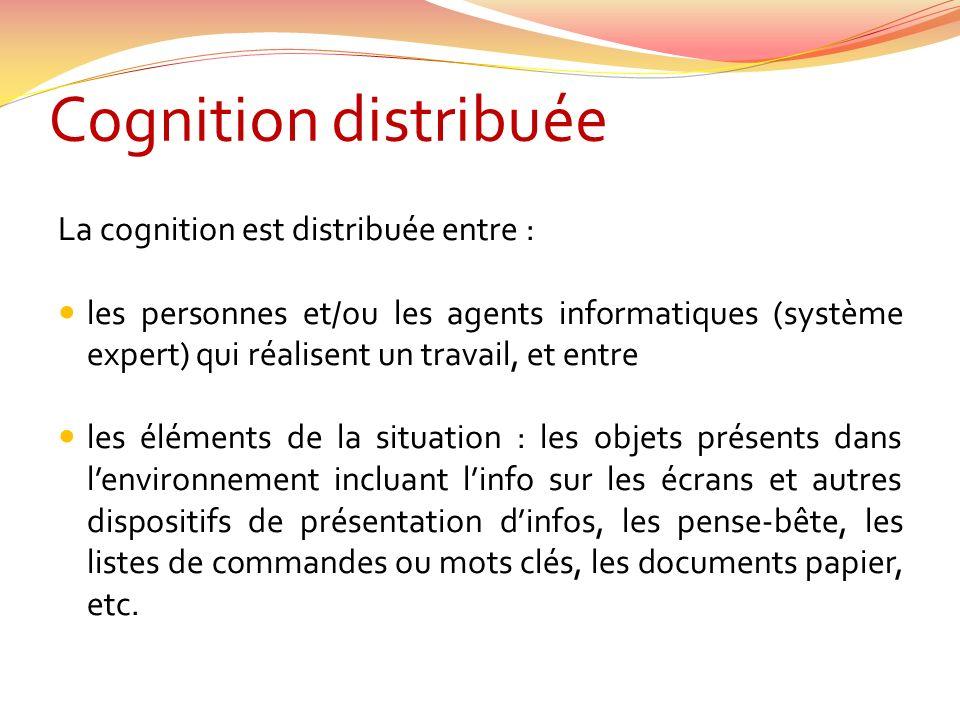Cognition distribuée La cognition est distribuée entre :