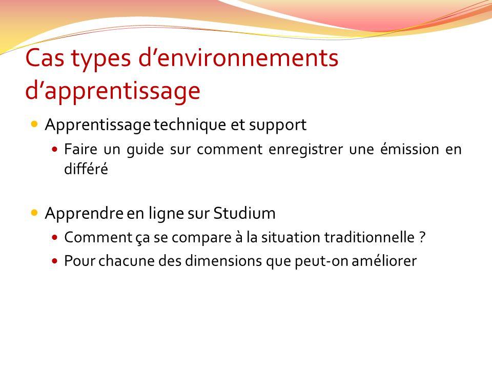 Cas types d'environnements d'apprentissage