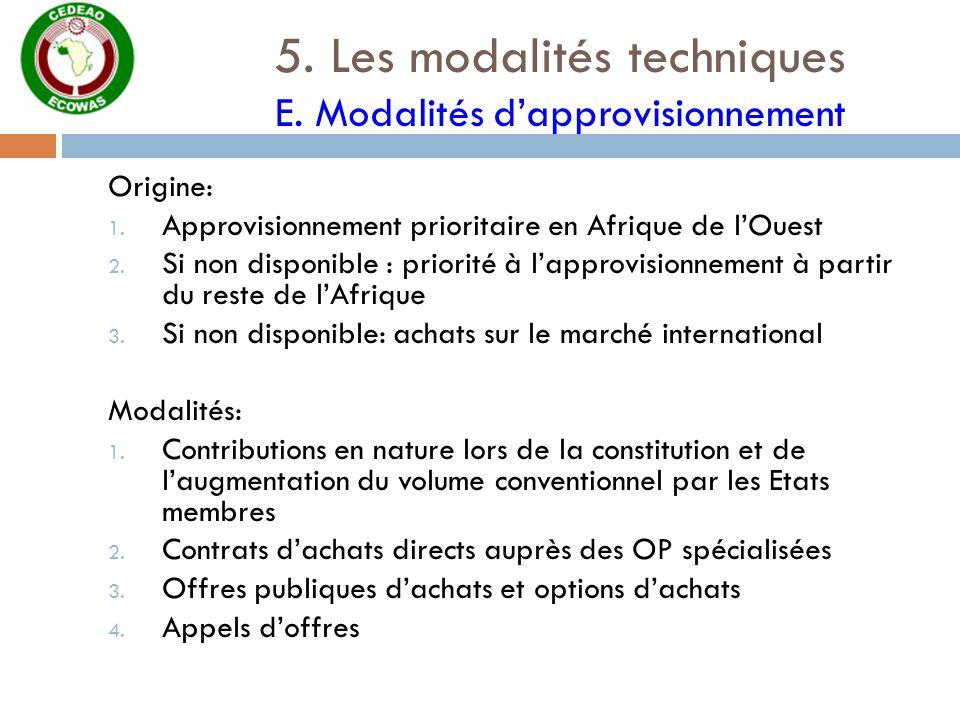 5. Les modalités techniques E. Modalités d'approvisionnement