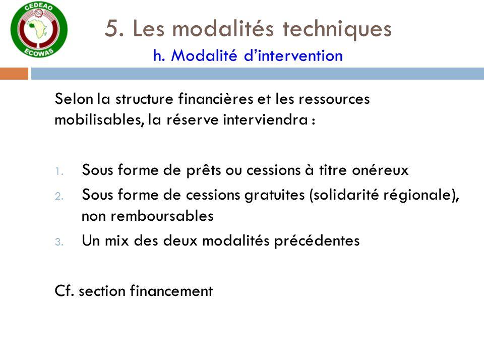 5. Les modalités techniques h. Modalité d'intervention
