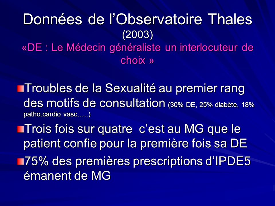 Données de l'Observatoire Thales (2003) «DE : Le Médecin généraliste un interlocuteur de choix »