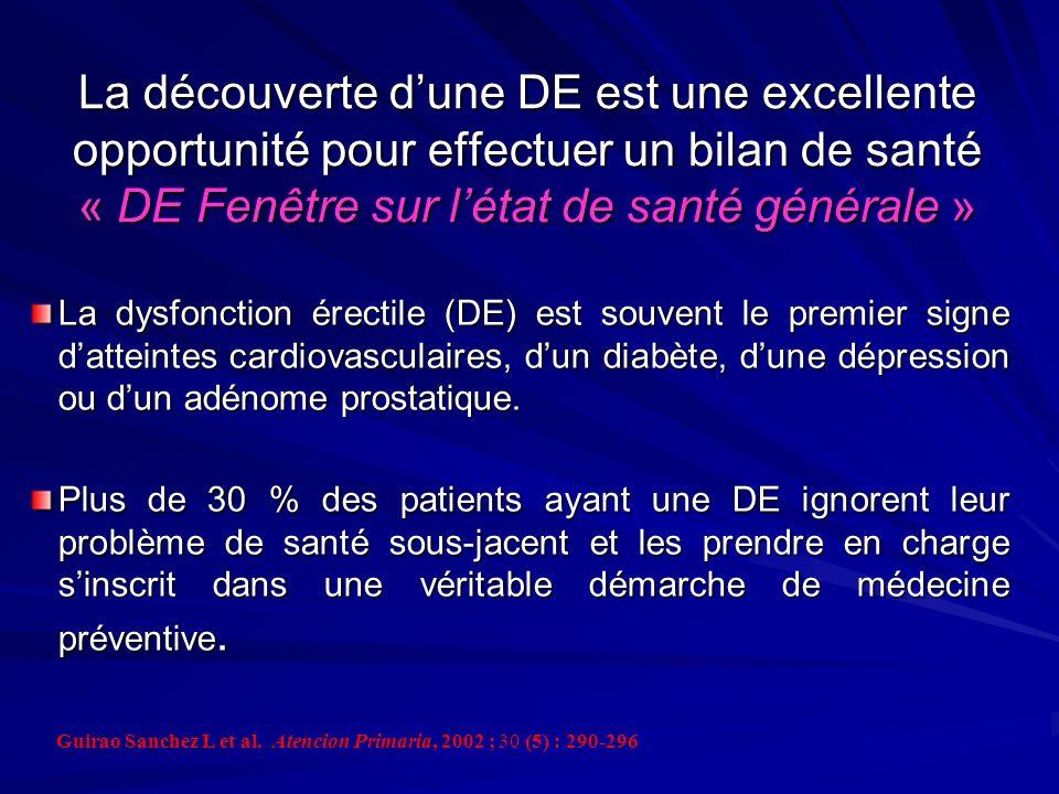 La découverte d'une DE est une excellente opportunité pour effectuer un bilan de santé « DE Fenêtre sur l'état de santé générale »
