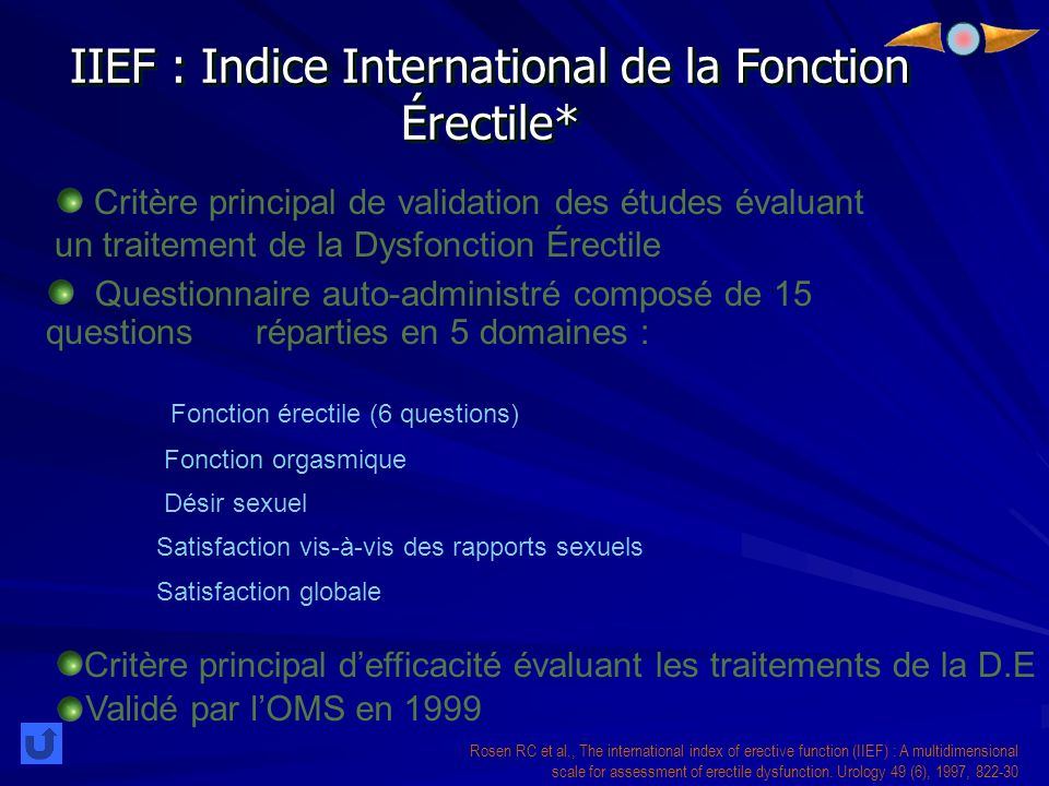 IIEF : Indice International de la Fonction Érectile*