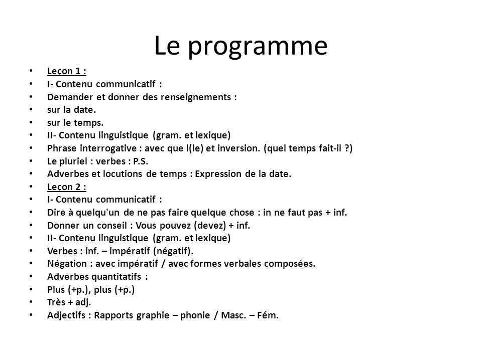Le programme Leçon 1 : I- Contenu communicatif :