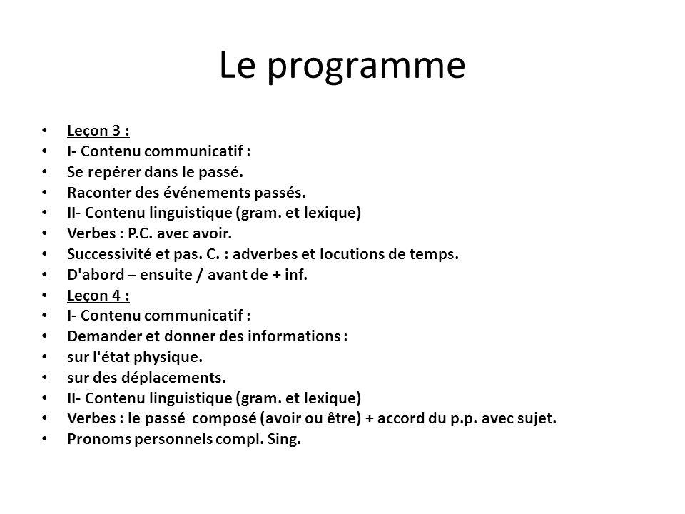Le programme Leçon 3 : I- Contenu communicatif :