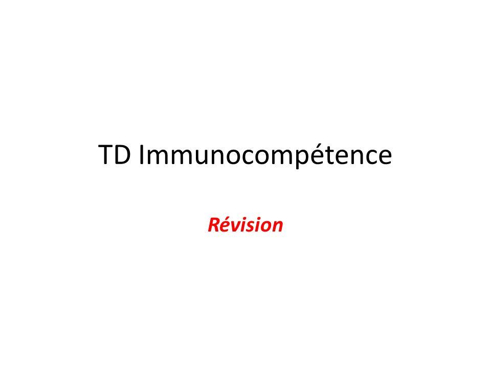 TD Immunocompétence Révision