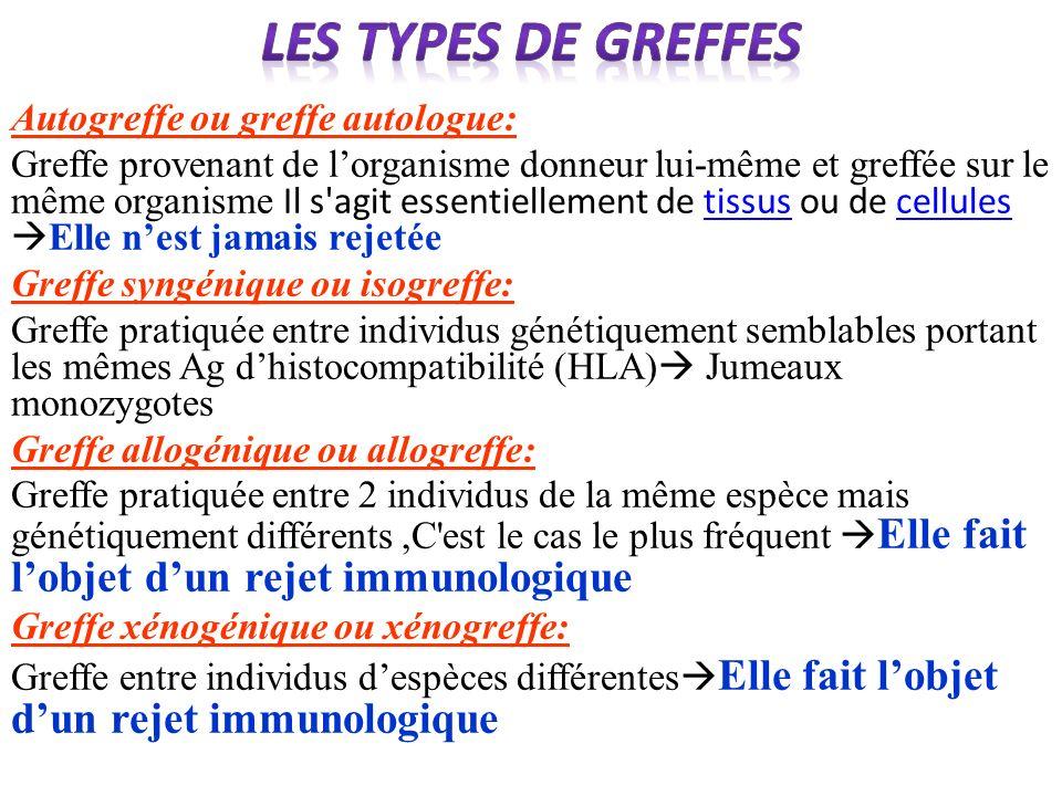 Les types de greffes Autogreffe ou greffe autologue: