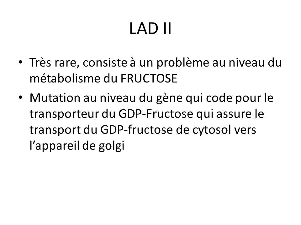 LAD II Très rare, consiste à un problème au niveau du métabolisme du FRUCTOSE.