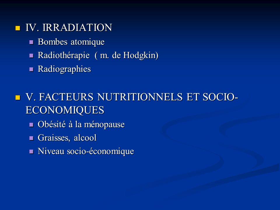 V. FACTEURS NUTRITIONNELS ET SOCIO-ECONOMIQUES
