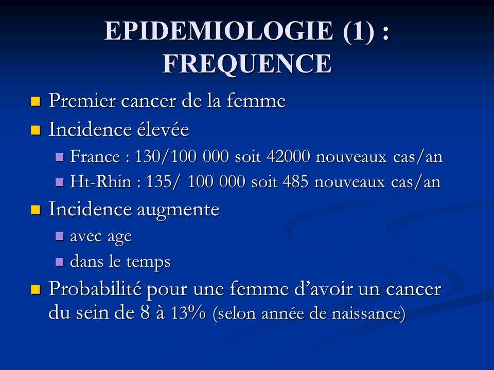 EPIDEMIOLOGIE (1) : FREQUENCE