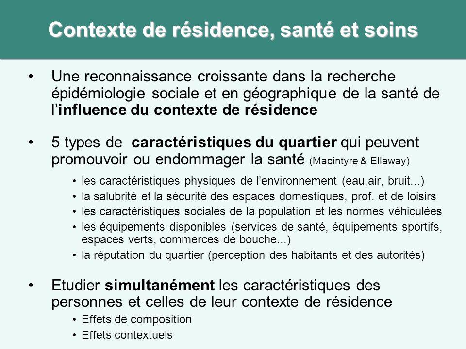 Contexte de résidence, santé et soins