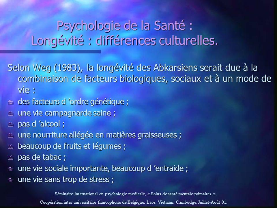 Psychologie de la Santé : Longévité : différences culturelles.