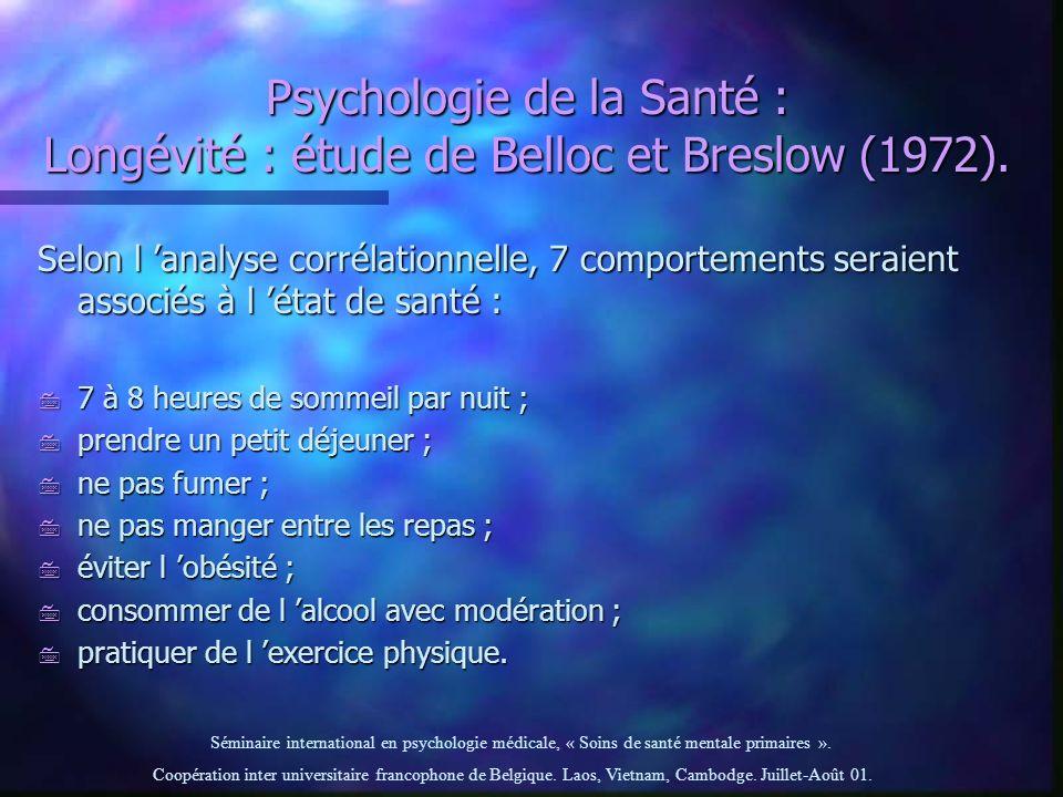 Psychologie de la Santé : Longévité : étude de Belloc et Breslow (1972).