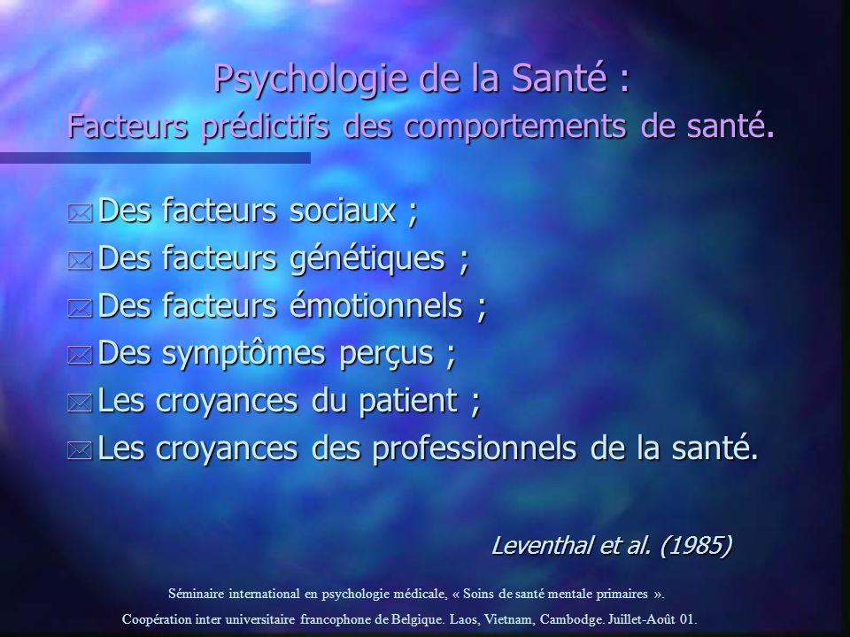 Psychologie de la Santé : Facteurs prédictifs des comportements de santé.