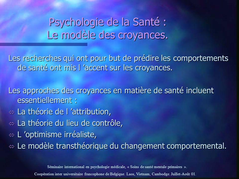 Psychologie de la Santé : Le modèle des croyances.