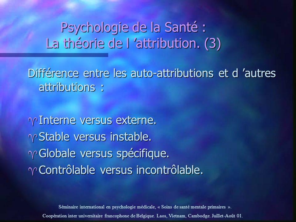 Psychologie de la Santé : La théorie de l 'attribution. (3)