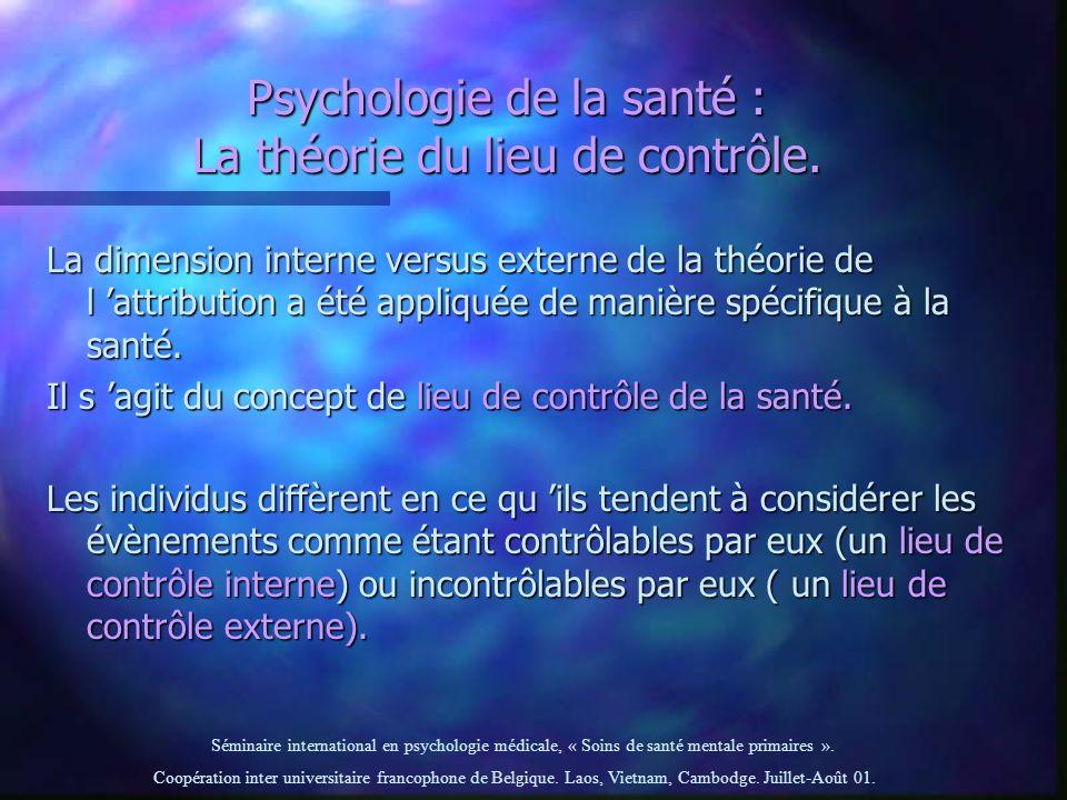 Psychologie de la santé : La théorie du lieu de contrôle.