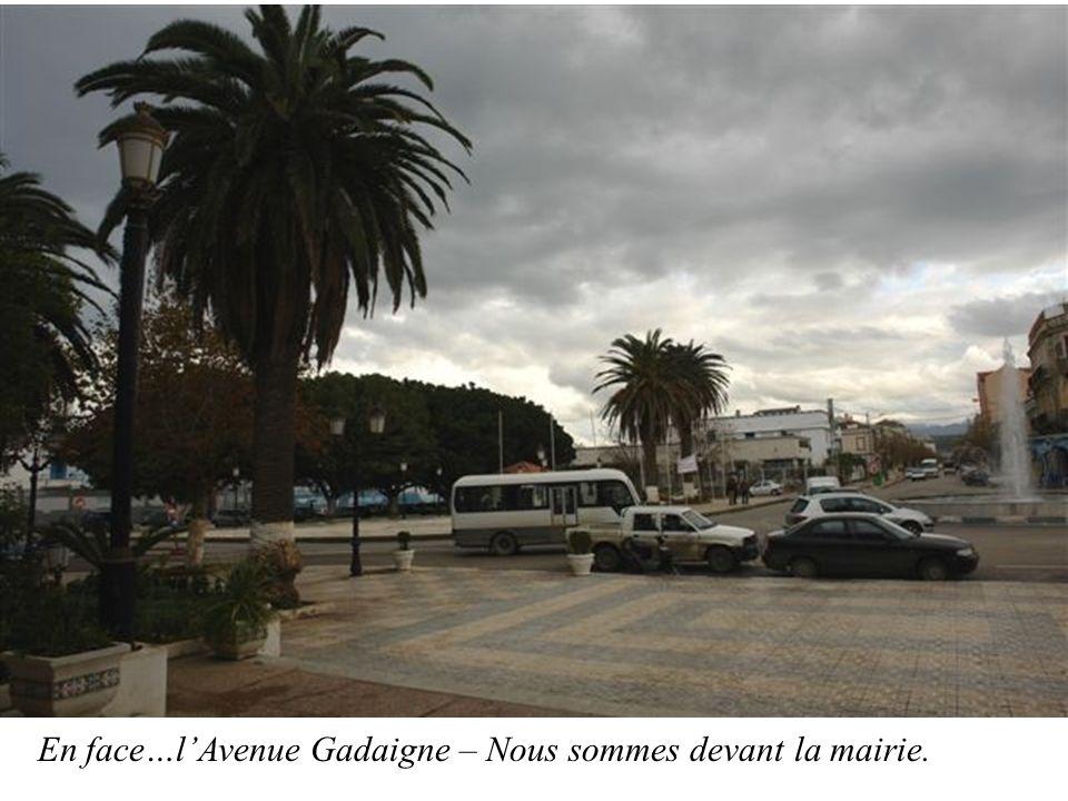 En face…l'Avenue Gadaigne – Nous sommes devant la mairie.