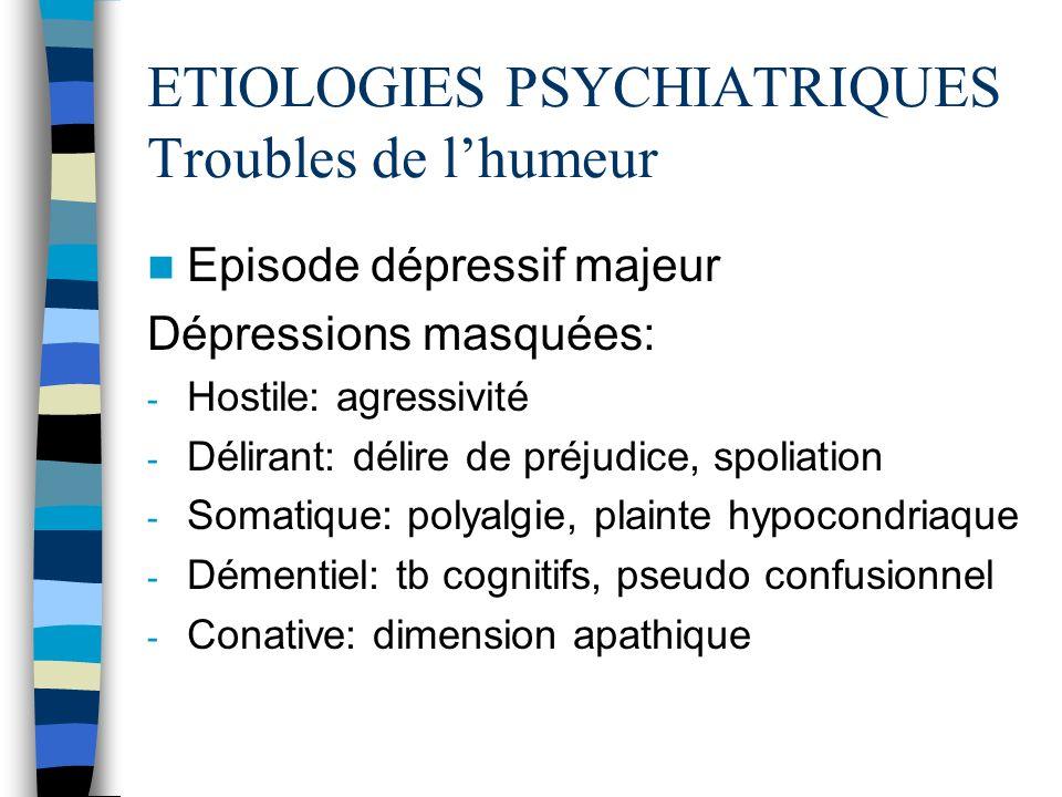 ETIOLOGIES PSYCHIATRIQUES Troubles de l'humeur
