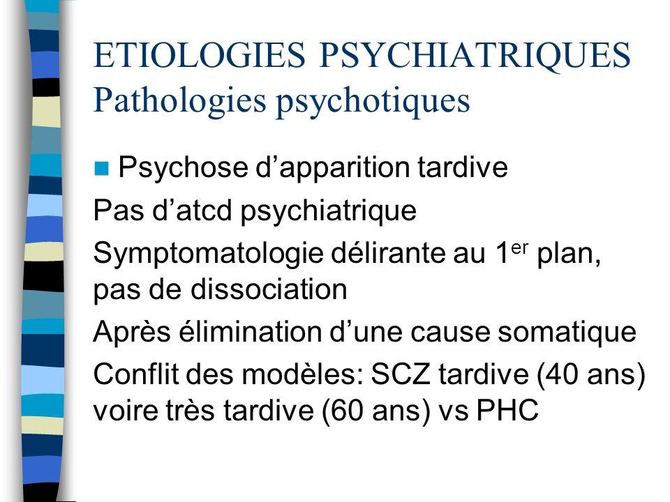 ETIOLOGIES PSYCHIATRIQUES Pathologies psychotiques