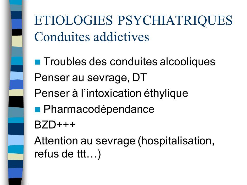 ETIOLOGIES PSYCHIATRIQUES Conduites addictives