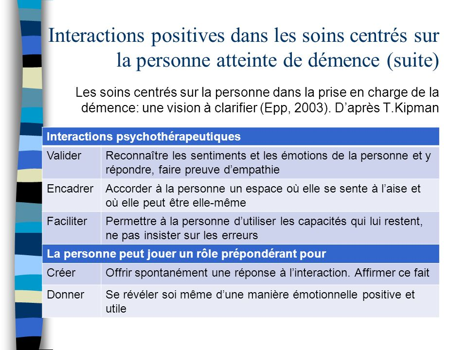 Interactions positives dans les soins centrés sur la personne atteinte de démence (suite)