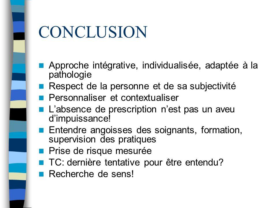 CONCLUSION Approche intégrative, individualisée, adaptée à la pathologie. Respect de la personne et de sa subjectivité.