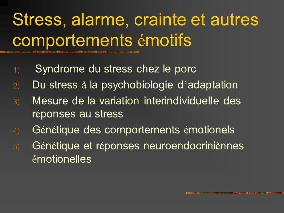 Stress, alarme, crainte et autres comportements émotifs