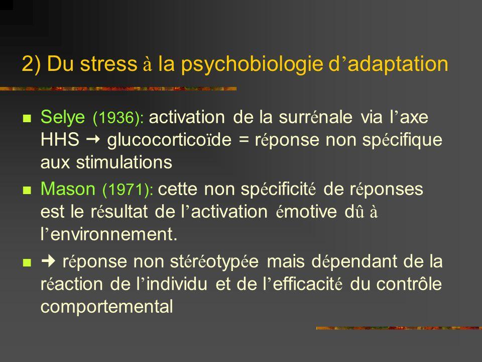 2) Du stress à la psychobiologie d'adaptation