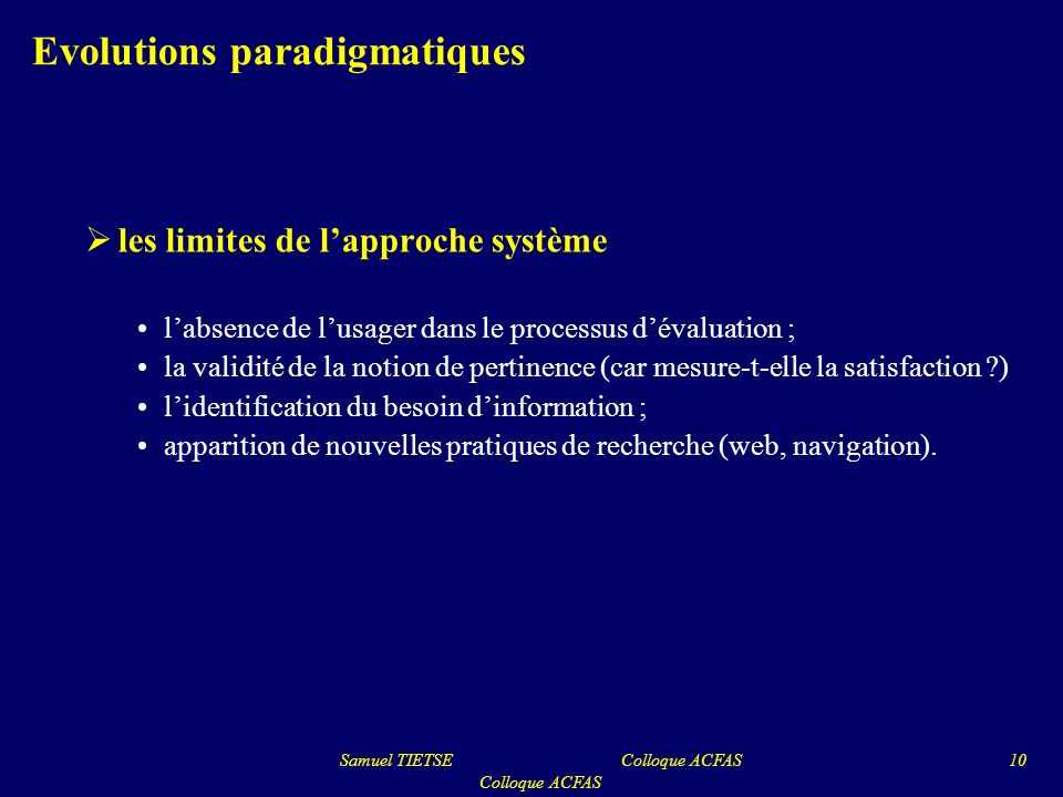 Evolutions paradigmatiques