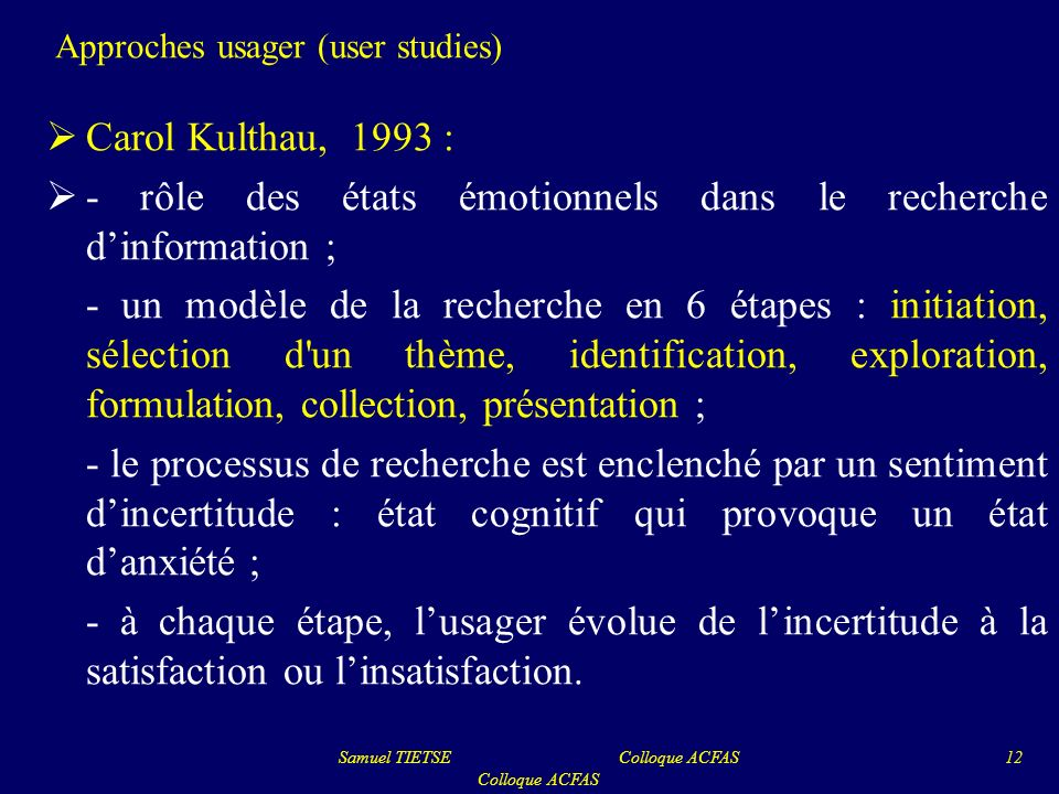 Approches usager (user studies)