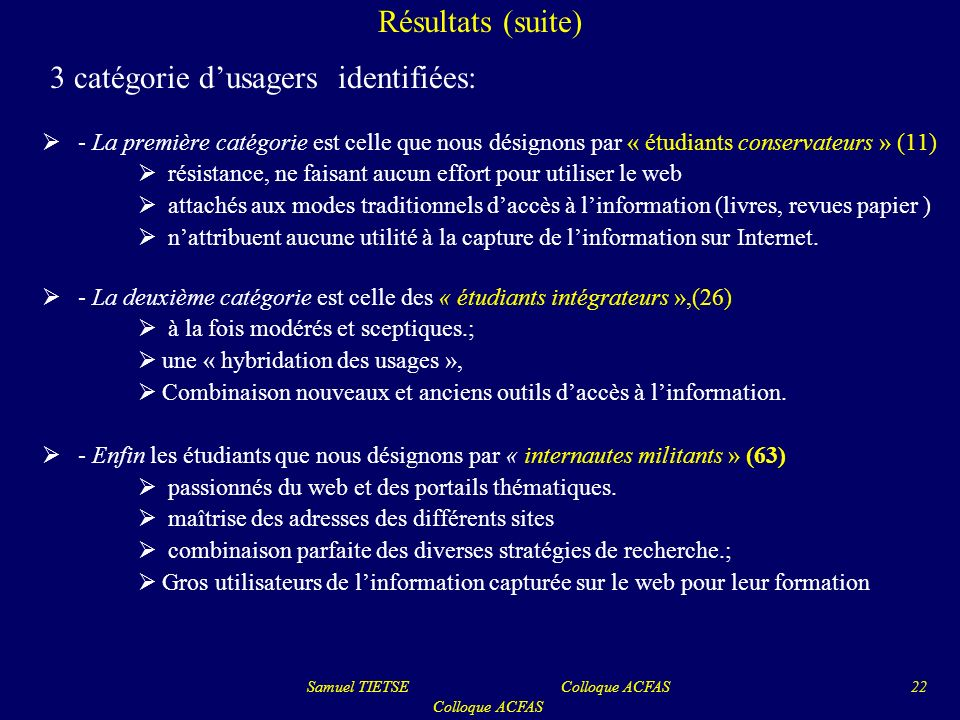 Samuel TIETSE Colloque ACFAS Colloque ACFAS