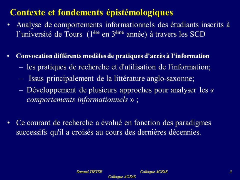 Contexte et fondements épistémologiques