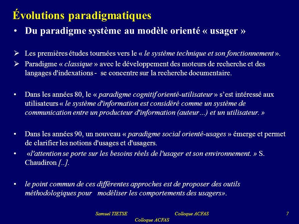 Évolutions paradigmatiques