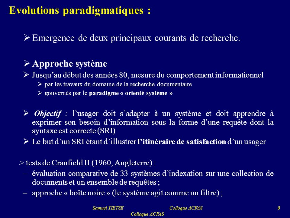 Evolutions paradigmatiques :
