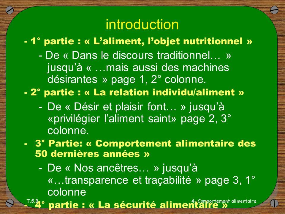 introduction - 1° partie : « L'aliment, l'objet nutritionnel »