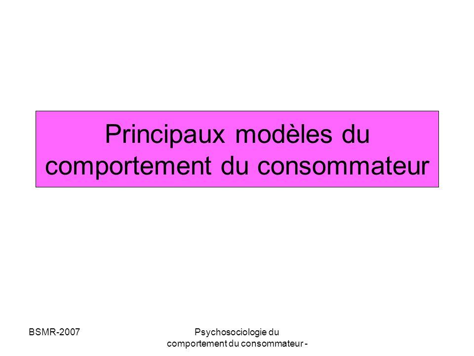 Principaux modèles du comportement du consommateur
