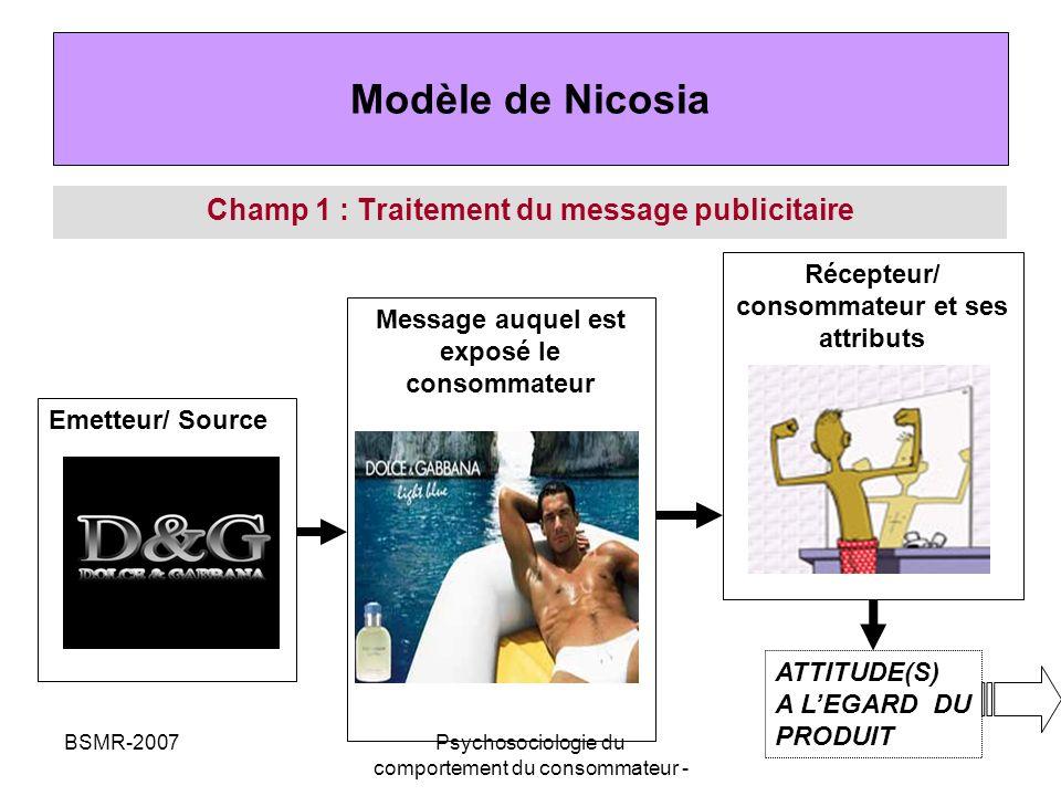 Modèle de Nicosia Champ 1 : Traitement du message publicitaire